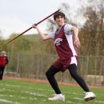 Naugatuck's Pike Grala prepares to launch his javelin during Naugatuck's home track meet May 5. - PHOTO BY LARAINE WESCHLER